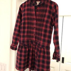 Jcrew Plaid drop waist dress. Size 2